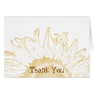 La dama de honor gráfica del girasol le agradece tarjeta de felicitación