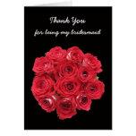 La dama de honor le agradece cardar -- Rosas nupci Felicitaciones