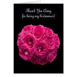 La dama de honor rosada de encargo de los rosas le tarjeton
