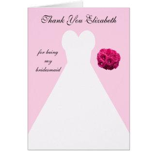 La dama de honor rosada de encargo le agradece car felicitaciones