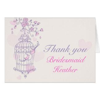 La dama de honor rosada púrpura del boda del pájar tarjetón