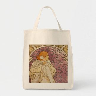 La Dame aux Camélias - Alfons Mucha Grocery Tote Bag