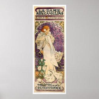 La Dame aux Camélias by Alfons Mucha (1896) Poster