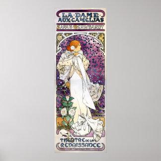 la dame aux camélias by Alfons Mucha 1896 Poster