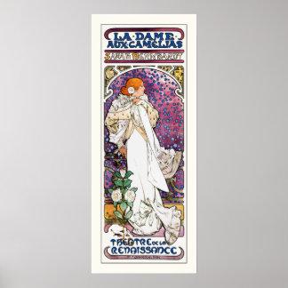 La Dame aux Camélias by Mucha Poster