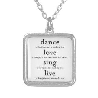 La danza, amor, canta, vivo colgante cuadrado