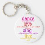 la danza, amor, canta, vivo llaveros personalizados