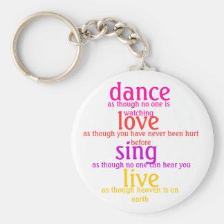 la danza, amor, canta, vivo llavero redondo tipo pin