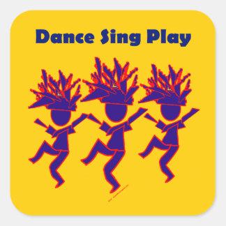 La danza canta el juego pegatina cuadrada