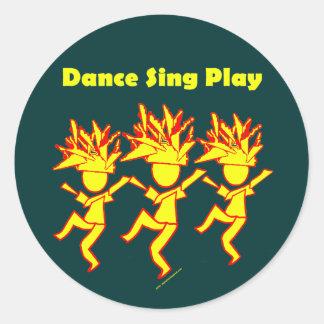 La danza canta el juego pegatina redonda