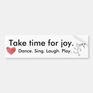 la danza, corazón, tarda el tiempo para la alegría etiqueta de parachoque