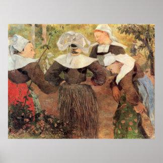 La danza de 4 mujeres de bretón por Gauguin Póster