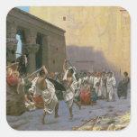 La danza de espada pegatina cuadrada