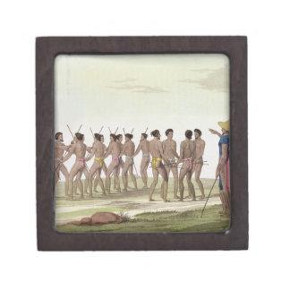 La danza de guerra de los isleños de Caroline, pla Caja De Joyas De Calidad