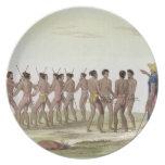 La danza de guerra de los isleños de Caroline, pla Platos De Comidas