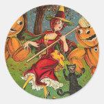 La danza de la bruja - vintage Halloween Pegatina Redonda