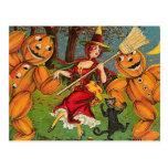 La danza de la bruja - vintage Halloween Postal
