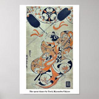 La danza de la lanza por Torii, Kiyonobu Ukiyoe Posters