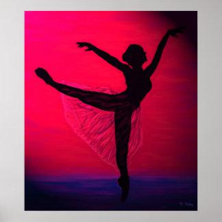 La danza de la luz en la impresión de la puesta de poster