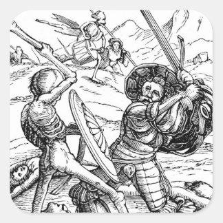 La danza de la muerte - el soldado pegatina cuadrada