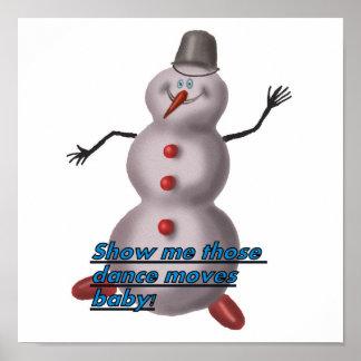 la danza mueve el poster del muñeco de nieve