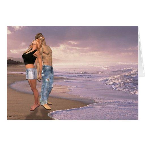 La danza, puesta del sol de la playa, par del amor felicitación