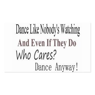 La danza tiene gusto de nadie que mira plantilla de tarjeta de visita