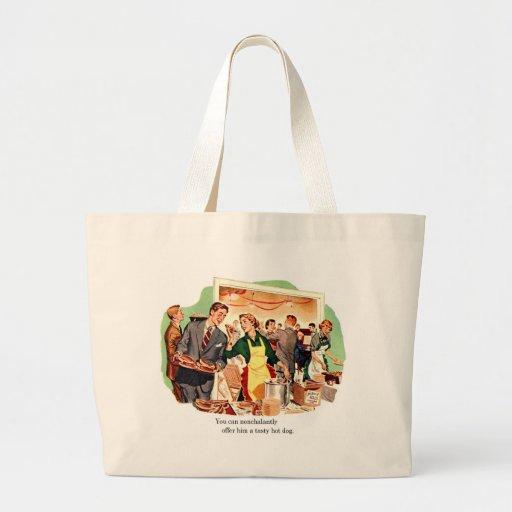 La datación retra del kitsch del vintage 'le ofrec bolsa tela grande