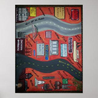 """LA de St Bernard """"encima del camino de DA"""" y """"abaj Poster"""