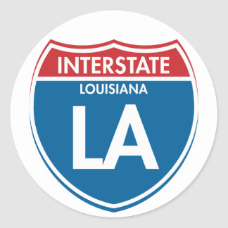 LA de un estado a otro de Luisiana Pegatina Redonda