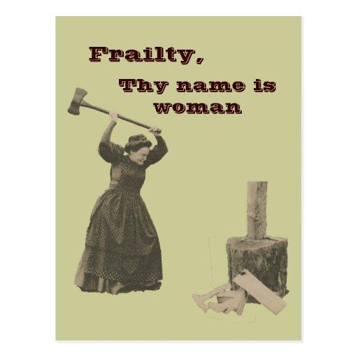 La debilidad, Thy nombre es mujer Tarjetas Postales