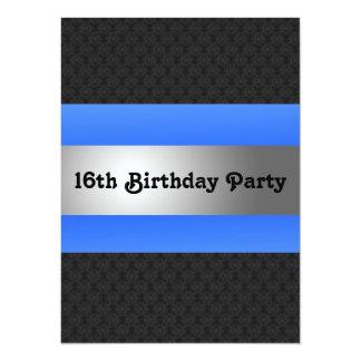 """La décimosexto fiesta del cumpleaños del muchacho invitación 5.5"""" x 7.5"""""""