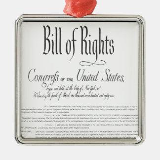 La Declaración de Derechos Adorno Cuadrado Plateado
