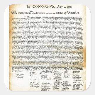 La Declaración de Independencia Pegatina Cuadrada