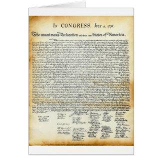 La Declaración de Independencia Tarjeta De Felicitación