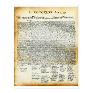 La Declaración de Independencia Tarjeta Postal
