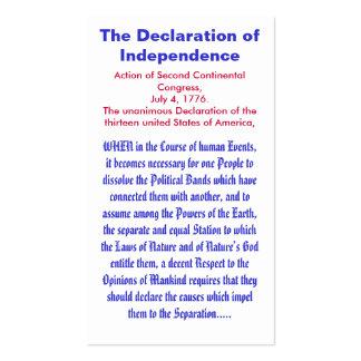 La Declaración de Independencia Tarjetas De Visita
