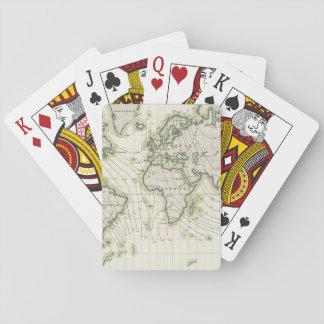La declinación magnética del mundo barajas de cartas