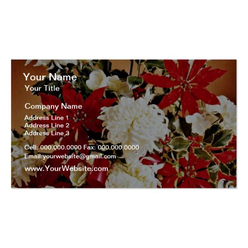 La decoración del navidad florece las flores tarjeta de visita