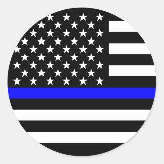 La decoración fina de la bandera americana de Blue Pegatina Redonda