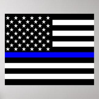 La decoración fina de la bandera americana de Blue Póster