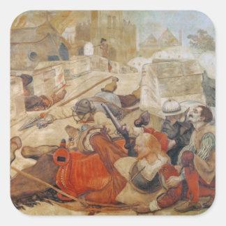 La defensa de Bradshaw de Manchester (1642) Pegatina Cuadrada