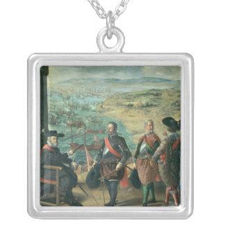 La defensa de Cádiz contra el inglés, 1634 Colgante Cuadrado