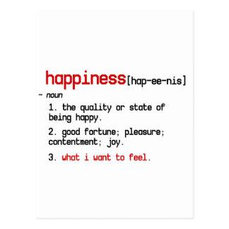 la definición de la postal de la felicidad