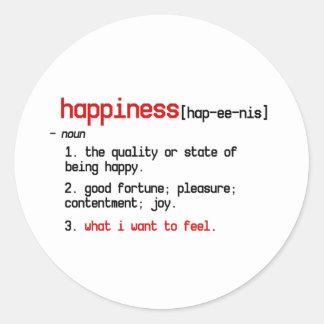 la definición del pegatina de la felicidad