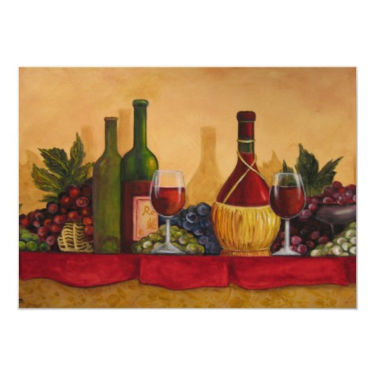 """La degustación de vinos invita invitación 5"""" x 7"""""""