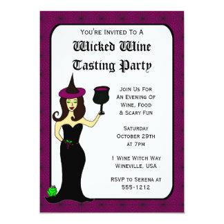 """La degustación de vinos traviesa Halloween de la Invitación 5"""" X 7"""""""