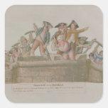 La demolición del Bastille, julio de 1789 Calcomanía Cuadradas