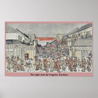 La demostración de la noche por Utagawa, Toyoharu Posters