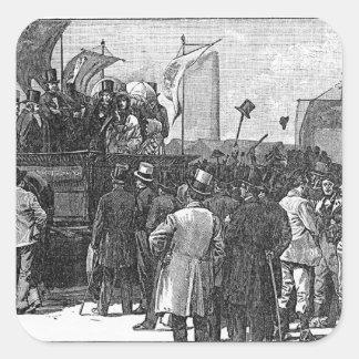 La demostración del Chartist en Kennington Pegatina Cuadrada